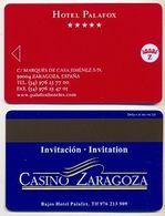 Casino Zaragoza Advert On Hotel Palafox Room Key Card, Zaragoza, Spain, # Palafox-1 - Cartes D'hotel