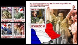 DJIBOUTI 2020 - Ch. De Gaulle, WW2, 4v + S/S Official Issue [DJB200202] - WW2