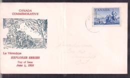Canada - 1958 - FDC - Canada Commerative - La Véredrye - Explorer Series - Cygnus - Omslagen Van De Eerste Dagen (FDC)