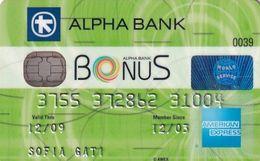 GREECE - Bonus, Alpha Bank American Express(light Green), Used - Geldkarten (Ablauf Min. 10 Jahre)