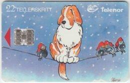 NORWAY A-212 Chip Telenor - Cartoon, Animal, Dog, Birds - Used - Norvège