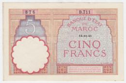 Morocco 5 Francs 14-11- 1941 VF++ Crisp Banknote Pick 23Ab 23A B - Maroc