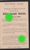 Grand Ry Cornesse 1914 Décès De Mme Vve  Gilles Joseph BOLETTE Née Dieudonnée MORAY - Obituary Notices