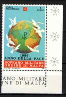 SMOM - 1986 - ANNO MONDIALE DELLA PACE - GLOBO TERRESTRE E COLOMBE DELLA PACE  - MNH - Malte (Ordre De)
