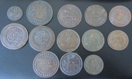 13 Monnaies Orientales 19e Et 20e Dont Empire Ottoman (Para), Maroc (Falus), Tunisie Dont Protectorat Français, Etc... - Coins & Banknotes