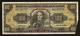 """100 Sucres   """"EQUATEUR """" 29 Avril 1986        Ble 27 - Equateur"""