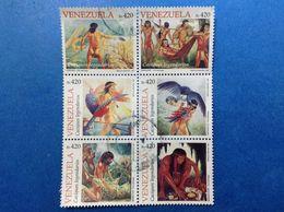 1998 VENEZUELA FRANCOBOLLI USATI STAMPS USED BLOCCO NATIVI AMERICANI 420 X6 CACIQUES LEGENDARIOS - Venezuela