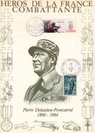 """"""" HEROS DE LA FRANCE COMBATTANTE : P. DEJUSSIEU-PONTCARRAL """" Sur Encart 1er Jour N°té / Soie Edit° A.M.I.S. Parfait état - WW2"""