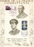 """"""" HEROS DE LA FRANCE COMBATTANTE : E. COULAUDON / R. HUGUET"""" Sur Encart 1er Jour N°té / Soie Edit° A.M.I.S. Parfait état - WW2"""