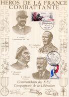 """"""" HEROS DE LA FRANCE COMBATTANTE :KOENIG / BOURGOIN / CHAVANT """" Sur Encart 1er Jour N°té / Soie Edit° A.M.I.S. Parf état - WW2"""