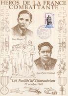 """"""" HEROS DE LA FRANCE COMBATTANTE :G. MOQUET / J.P. TIMBAUD """" Sur Encart 1er Jour N°té / Soie Edit° A.M.I.S. Parf état - WW2"""