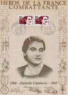""""""" HEROS DE LA FRANCE COMBATTANTE : DANIELLE CASANOVA """" Sur Encart 1er Jour N°té / Soie Edit° A.M.I.S. Parf état - WW2"""