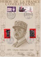""""""" HEROS DE LA FRANCE COMBATTANTE : CHARLES DELESTRAIN """" Sur Encart 1er Jour N°té / Soie Edit° A.M.I.S. Parfait état - WW2"""