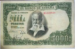 Ref. 181-461 - BIN SPAIN . 1951. 1000 Pesetas Joaquin Sorolla 1951. 1000 Pesetas Joaquin Sorolla 1951 - 1-2 Pesetas