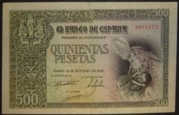 Ref. 214-339 - BIN SPAIN . 1940. 500 Pesetas Estado Espa�ol 21st October 1940. 500 Pesetas Estado Espa�ol 21 De Octubre - 500 Pesetas