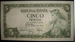 Ref. 183-305 - BIN SPAIN . 1954. 5 Pesetas Alfonso X 1954. 5 Pesetas Alfonso X 1954 - [ 3] 1936-1975 : Regime Di Franco