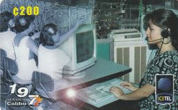 Costa Rica, CRI-V25, 50 Aniversario Del Ice 1 Emision Logo Icetel, Women, 2 Scans . - Costa Rica