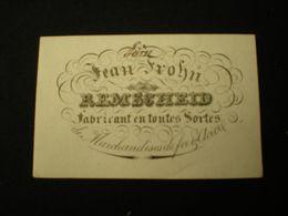 REMSCHEID - JEAN FROHN FABRICANT DE MARCHANDISES DE FER & ACIER - CARTE DE VISITE PORCELAINE  8.50 X 5.5 - Remscheid