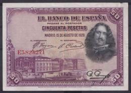 Ref. 407-4438 - BIN SPAIN . 1928. 50 PESETAS 1928 VELAZQUEZ.. 50 PESETAS 1928 VELAZQUEZ. - [ 1] …-1931 : Primeros Billetes (Banco De España)
