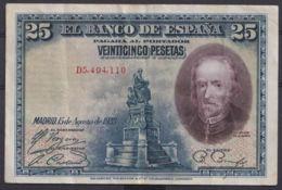 Ref. 412-4437 - BIN SPAIN . 1928. 25 PESETAS 1928 BOAT PILOT WHALE. 25 PESETAS 1928 CALDERON DE LA BARCA - [ 1] …-1931 : Primeros Billetes (Banco De España)