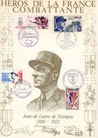 """"""" HEROS DE LA FRANCE COMBATTANTE : JEAN DE LATTRE DE TASSGNY """" Sur Encart 1er Jour N°té / Soie Edit° A.M.I.S. Parf état - WW2"""