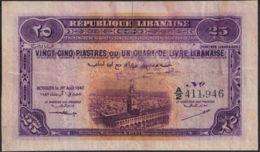 Ref. 2994-3417 - BIN LIBAN . 1942. LIBANAISE LEBANON 25 PIASTRES 1942 - Liban