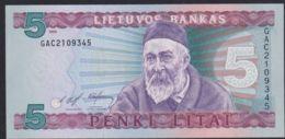 Ref. 2922-3345 - BIN LITHUANIA . 1993. LITHUANIA 5 VIENAS LITAS 1993 - Lithuania