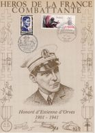 """"""" HEROS DE LA FRANCE COMBATTANTE : HONORE D'ESTIENNE D'ORVES """" Sur Encart 1er Jour N°té / Soie Edit° A.M.I.S. Parf état - WW2"""