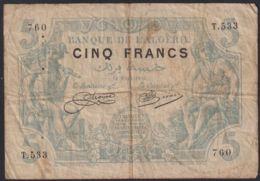 Ref. 2736-3159 - BIN ALGERIA . 1915. ALGERIE 5  FRANCS 1915 - Algerien