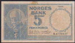 Ref. 2361-2784 - BIN NORWAY . 1955. NORWAY NORGES BANK 1955 5 KRONER - Noorwegen