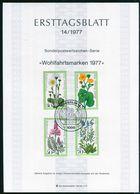 Berlin - 1977 ETB 14/1977 - Mi 556 / 559 - Wiesenblumen, Wohlfahrtsmarken 77 - FDC: Hojas