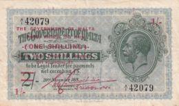 Ref. 1760-2183 - BIN MALTA . 1918. MALTA; 1 SHILLING OF 2 SHILLINGS; 1918  (1940) - Malte