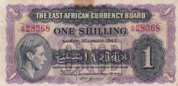 Ref. 1675-2098 - BIN BRITISH EAST AFRICA AND UGANDA . 1943. BRITISH EAST AFRICA BANKNOTE 1 SHILLING 1954 QUEEN ELIZABETH - Kenya