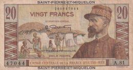 Ref. 1584-2006 - BIN ST. PIERRE AND MIQUELON . 1950. SANT PIERRE ET MIQUELON  20 ESCUDOS 1950 - 1960 - Papeete (Polynésie Française 1914-1985)