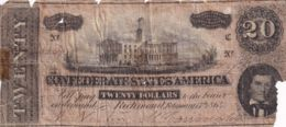 Ref. 1420-1842 - BIN UNITED STATES . 1864. USA CONFEDERATE STATES AMERICA 20 DOLLARS 1864 - Verenigde Staten