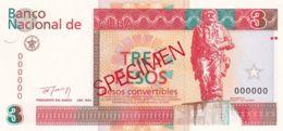 Ref. 1300-1722 - BIN CUBA . 1994. CUBA 3 PESOS CONVERTIBLES 1994 PICK FX38 SPECIMEN - Cuba