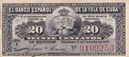 Ref. 1185-1607 - BIN CUBA . 1897. CUBA 20 CENTAVOS PESOS 1897 - Cuba