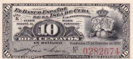 Ref. 1184-1606 - BIN CUBA . 1897. CUBA 10 CENTAVOS PESOS 1897 - Cuba