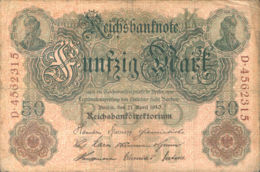 Ref. 998-1420 - BIN GERMANY . 1910. ALEMANIA GERMANY 50 MARK 1910 - Zonder Classificatie