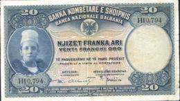 Ref. 962-1384 - BIN ALBANIA . 1926. ALBANIA SHQIPERISE 20 FRANCHI 1926 - Albanië