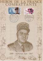 """"""" HEROS DE LA FRANCE COMBATTANTE : MARECHAL JUIN """" Sur Encart 1er Jour N°té / Soie Edit° A.M.I.S. Parf état - WW2"""