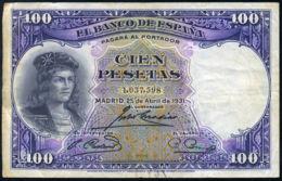 Ref. 413-741 - BIN SPAIN . 1931. 100 PESETAS 1931 GONZALO HERNANDEZ DE CORDOBA. 100 PESETAS 1931 GONZALO HERNANDEZ DE C - [ 1] …-1931 : Premiers Billets (Banco De España)