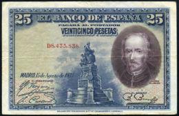 Ref. 412-737 - BIN SPAIN . 1928. 25 PESETAS 1928 BOAT PILOT WHALE. 25 PESETAS 1928 CALDERON DE LA BARCA - [ 1] …-1931 : Eerste Biljeten (Banco De España)