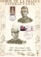 """"""" HEROS DE LA FRANCE COMBATTANTE : T. MOREL / M. ANJOT """" Sur Encart 1er Jour N°té / Soie Edit° A.M.I.S. Parf état - WW2"""