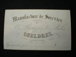 CUELDRES - CREVELD - MANUFACTURE DE SOIERIES B. ROEFFS - CARTE DE VISITE PORCELAINE  9.5 X 5.5 - Krefeld