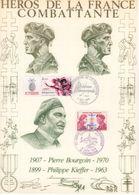 """"""" HEROS DE LA FRANCE COMBATTANTE : P. BOURGOIN / P. KIEFFER """" Sur Encart 1er Jour N°té / Soie Edit° A.M.I.S. Parf état - WW2"""