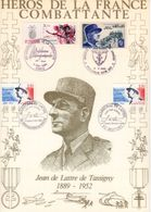 """"""" HEROS DE LA FRANCE COMBATTANTE : JEAN DE LATTRE DE TASSIGNY """" Sur Encart 1er Jour N°té / Soie Edit° A.M.I.S. Parf état - WW2"""