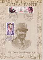 """"""" HEROS DE LA FRANCE COMBATTANTE : KOENIG """" Sur Encart 1er Jour N°té / Soie Edit° A.M.I.S. Parf état - WW2"""