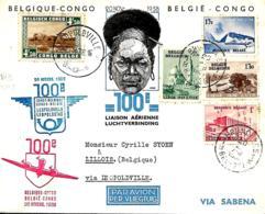 Belgique. 100ème Liaison Aérienne Régulière Bruxelles > Congo AR Via Léopoldville  20/11/38     Van Den Bauw 380 B - Aéreo