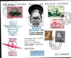 Belgique. 100ème Liaison Aérienne Régulière Bruxelles > Congo AR Via Bumba  20/11/38     Van Den Bauw 380 ,E - Aéreo